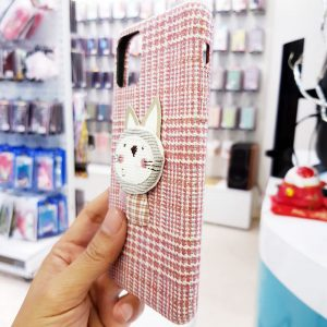 Ốp lưng điện thoại vải mèo hồng2