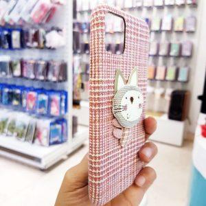 Ốp lưng điện thoại vải mèo hồng1