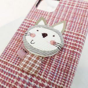 Ốp lưng điện thoại vải mèo hồng5