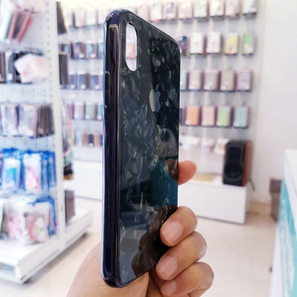 Ốp lưng điện thoại vân đá lưng kính aolibao đen