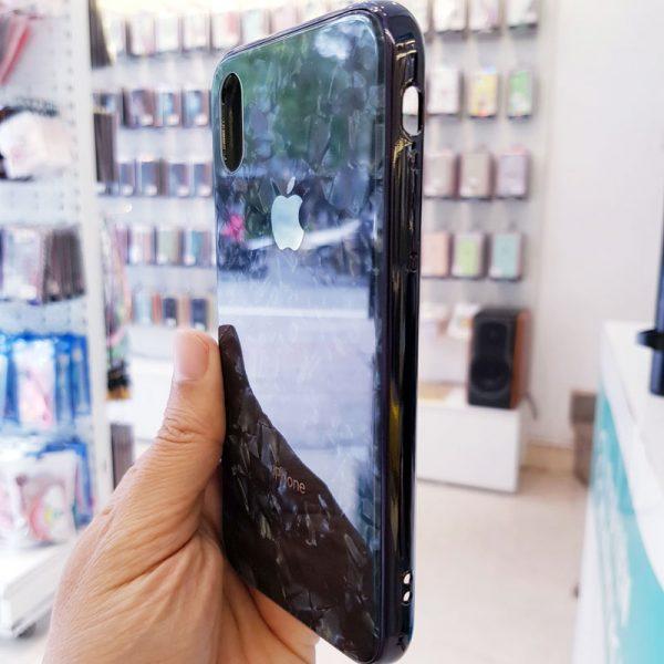Ốp lưng điện thoại vân đá lưng kính aolibao đen3