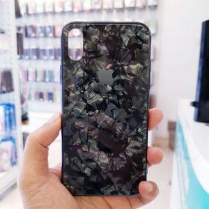 Ốp lưng điện thoại vân đá lưng kính aolibao đen2