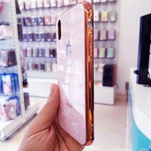 Ốp lưng điện thoại vân đá lưng kính aolibao hồng2