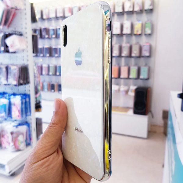 Ốp lưng điện thoại vân đá lưng kính aolibao trắng2