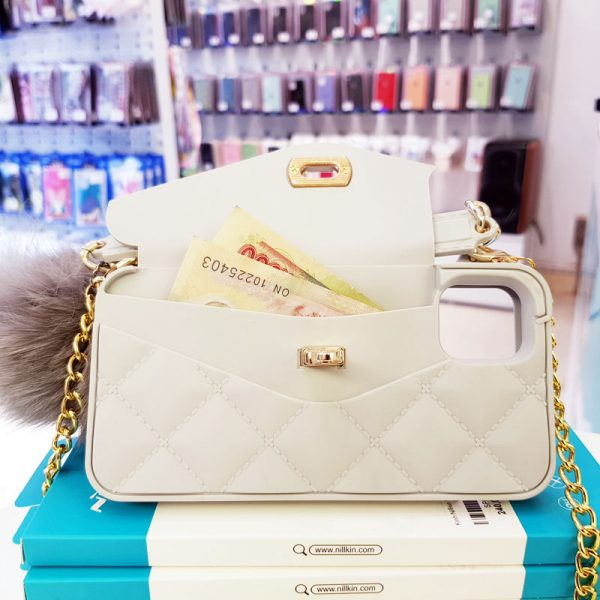 Ốp lưng điện thoại sang chảnh ví Chanel trắng4